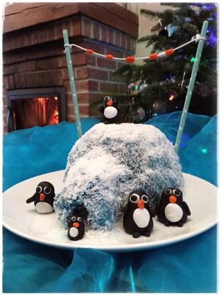 Gâteau igloo et ses pingoins