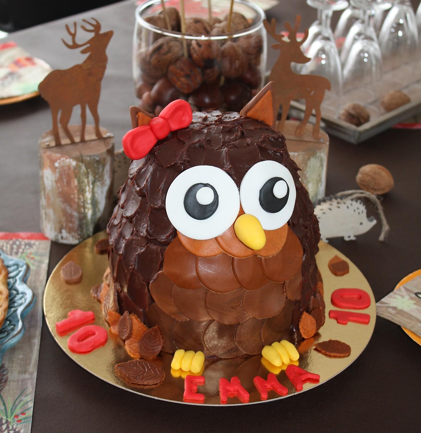 Gâteau au chocolat en forme de chouette