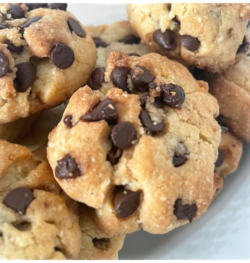 Zoom biscuit chocolat noisettes