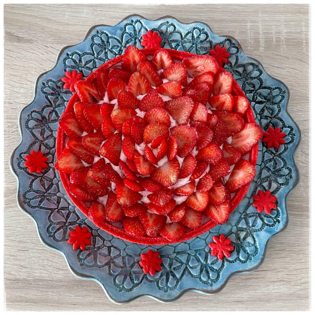 Charlotte aux fraises vue du haut
